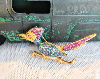 SALE! STUNNING Vintage Road Runner Brooch/Pin-Iridescent Chameleon Blue/Purple-Pink-Gold-Bird-Signed Ultra-All Orders Only 99c Shipping!!