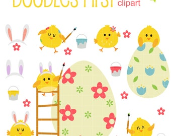 Happy Easter Chicks Digital Clip Art for Scrapbooking Card Making Cupcake Toppers Paper Crafts