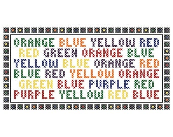 Color Craze - Original Cross Stitch Chart | Inspired by the Stroop Test