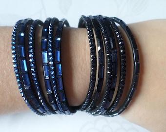 x 1 Navy blue leather multi strand dark blue rhinestone AB snap clasp 40 cm silver bracelet