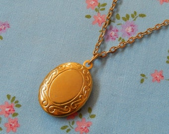 Gold Plated Small Oval Locket Pendant Necklace