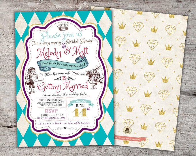 Alice in Wonderland Invitation / First Birthday Invitation / Mad Hatter Tea Party - Printable for Birthday or Wedding / Baby Shower