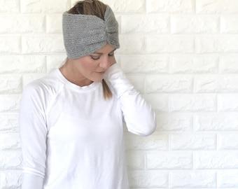 Knit Cinched Earwarmer Headband | Grey Gray | THE LANA