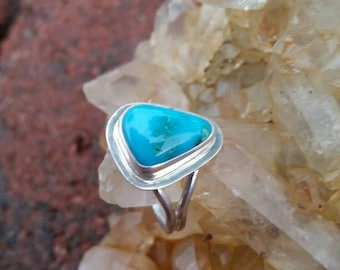 Turquoise ring, sterling silver, natural turquoise, battle mountain blue gem turquoise, ladies ring