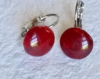 Vintage Dark Red Glass 10mm Button Earrings - Beautiful!