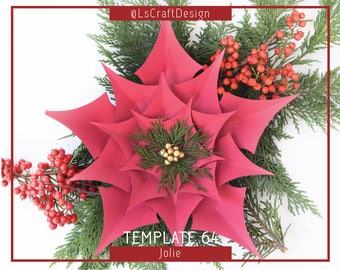 PDF Paper Flowers, Giant Paper Flower, ChristmasDecor, Paper Poinsettia Flower, Christmas flower, Base/Instruction Including