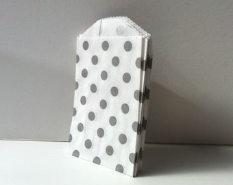 100 Grey Polka Dot Treat Bags grey polka dot bags  Favor  Bags candy bar bags advent calendar bags