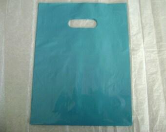 10 Pack 9X12 Teal/Blue Merchandise Bags Glossy Handles Low Density Handle Gift Bags