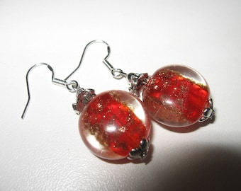 Christmas earrings, designer red murano glass bead