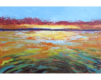 original painting seascape water minimalist acrylic landscape sunset field teal  aqua olive  24x36
