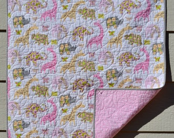 Pastel Jungle Animal Quilt Baby Girl