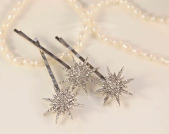 Star Headpiece Star Hair Pins Great Gatsby Head Piece Silver Hair Pin Wedding Snowflake Star Christmas Bridal Hair Star Hair Clip Elsa Hair
