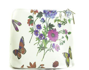 Small White Butterfly Print Leather Zip Shoulder Crossbody Handbag Made In Italy