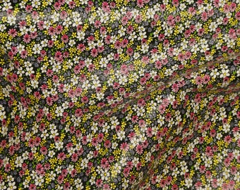 """Leather 12""""x12"""" ARRAY of YELLOW PINK White Tiny Flowers on Black Cowhide 2.75-3 oz/1.1-1.2 mm PeggySueAlso™ E1200-01"""