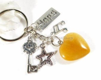 Orange Agate Gemstone Heart Key Chain, Heart Charm Keychain, Agate Crystal Gemstone Keychain, Orange Crystal Keychain, Gifts for Women