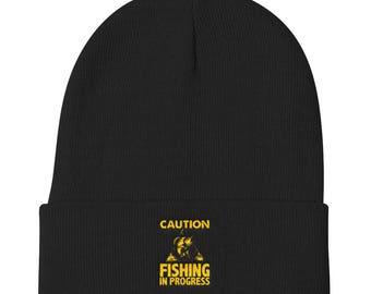 Fishing Hat - Fisherman Hat - Caution Fishing In Progress - Fisherman Beanie - Fisherman Gift - Fishing Gifts
