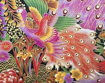 Japanese fabric, peacock fabric, metallic birds, gold purple floral, oriental cotton, chrysanthemum, by the metre