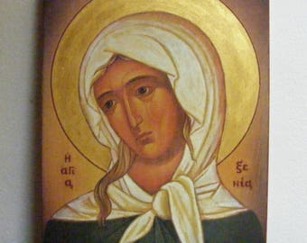 "Saint Xenia icon hand-painted  of hot colors directly on solid wood  18x24x2 см ( 7.1""x 9.5""x0.8"" )"