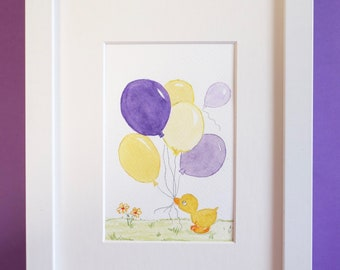 Newborn gift- Watercolor - Duckling - Baby gift -Deco for kids & baby's room-  BABY DUCKLING and his BALLOONS