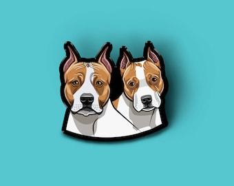 Custom Pin with two dog | Custom Pet Portrait | Pet Art Illustration | Dog Portrait Brooch| Cat Portrait | Dog Lover Gift | Pet Loss Gift |