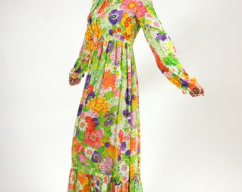 70s Psychedelic Floral Long Sleeve Green Dress Medium Flower Bright Flowy
