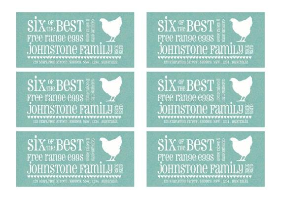 Items similar to A4 size PDF version of half dozen egg carton labels ...
