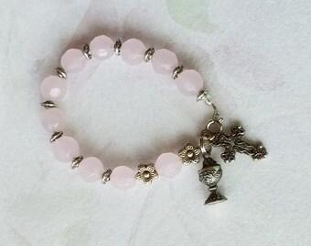 First Holy Communion Catholic Rosary Bracelet Chalice Charm Cross Charm Pink Glass Bead Pink Bracelet Communion Gift Gold Child