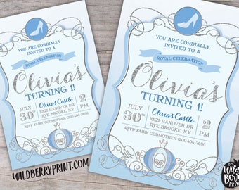 Cinderella Royal Ball Birthday Party Invitation with Free Shipping or Personalized Printable | Blue Silver