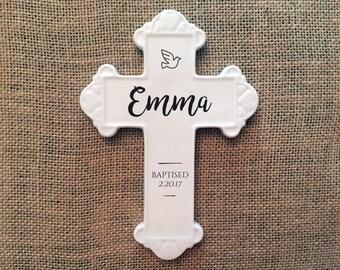 White ceramic baptismal cross, personalized baptismal cross, ceramic wall cross, *******Free Shipping*******