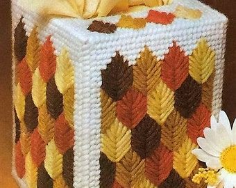 FALL LEAVES Colorful Boutique Size Tissue Box Cover  - Fall Home Decor - Needlepoint on Plastic Canvas - Handmade - Hand Stitched