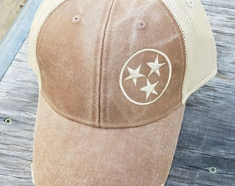 Embroidered Hat, Personalized Hat, Customized Hat, Monogrammed Hat, Distressed Hat, Adams Trucker Hat, Mesh Hat