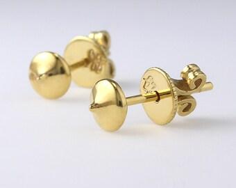 14K Solid Gold Dot Stud Earrings, 14K Circle Studs, 14K Round Stud Earrings, 14K Small Studs, 14K Dainty Earrings, Minimalist Earrings