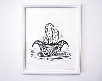 Goat Behind Cactus, Linocut, Black and White, Print, Poster