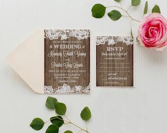 Wedding Invitation Suite, Rustic Wedding Invitations, Lace Wedding Invitation, Country wedding invitations, Rustic, Printed Invitations