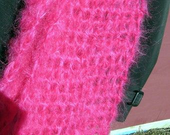 Hot Pink Mohair Wool Scarf 77x3 Womans Mothers Day Easter Spring Birthday Gift BoHo Chic Handmade Crochet Knit Warm Fluffy Fashion Short