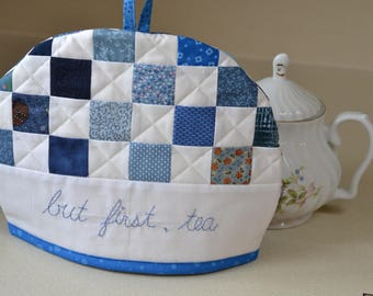 Tea cozy Blue and White country patchwork quilted, hygge kitchen tea