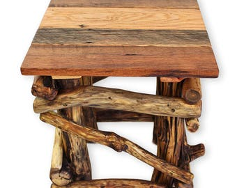 Barnwood End Table Rustic Side Table Reclaimed Wood Table Small Wood Table  Wood Furniture Wooden Living