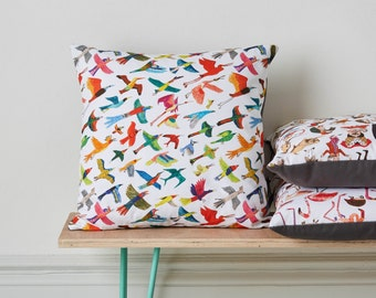 Bird Cushion, home decor, nursery decor, kids room decor, gift for son, gift for daughter, bird print cushion cover and pad