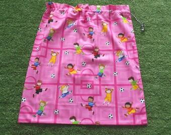 Girls soccer drawstring bag, large pink cotton library bag, toy or storage bag