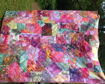 "Colorful Hand Quilted, Hand Dyed Boro Style Quilt in Cotton Fabric - 85"" by 68"""