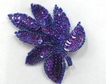 Purple Sequinned Leaf Hairclip