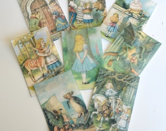 Edible Alice in Wonderland Through The Looking Glass Wafer Rice Paper Birthday Cookie Toppers Wedding Cake Decorations Mad Hatter Party RTD