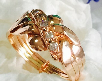 14k solid gold 0.10ct diamond 4 band hand made  puzzle ring