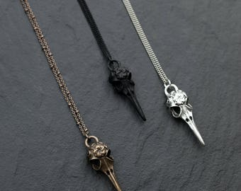 The RAVEN pendant necklace / Matte Black, Bronze or Silver Bird Skull, Long Necklace / Unisex Mens Necklace Boho Jewelry / Bohemian Fringe