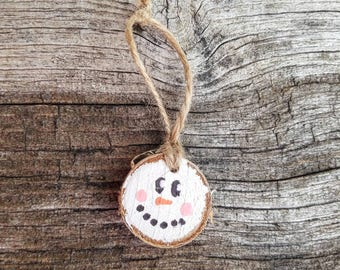 Woodland rustic wood snowman face ornament, Christmas ornament, hand painted ornament, birch wood slice ornament, snowman ornament