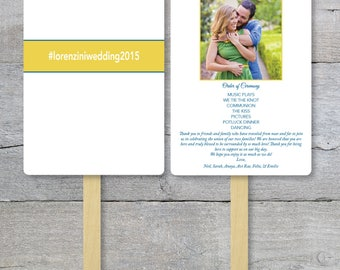 Wedding Program Fan, Couple Photo, Banner, Hash Tag, #, Fan With Picture, Destination Wedding, Order of Service Fan