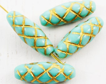6pcs Opaque Light Turquoise Green Gold Patina Wash Oval Carved Striped Tube Checkered Plaid Czech Glass Beads 22mm X 8mm