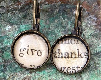 Thanksgiving Earrings,  GIVE THANKS Earrings, Thankful Jewelry,  Hostess Gift