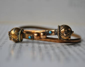Antique Victorian Gold Filled Bangle - 1860s Etruscan Revival Bracelet, Bypass Bracelet, Size Small, Free Shipping
