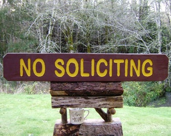 Park Style NO SOLICITING Sign. Barn Wood Park Sign, Rustic Handmade Vintage Wooden Sign, National Park Décor, Handcrafted Rustic Sign 445G